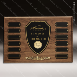 The Reopell Walnut Perpetual Plaque  12 Black Plate Employee of the Month Year Quarter Plaques
