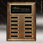 The Respicio Walnut Perpetual Plaque  12 Black Plate Employee of the Month Year Quarter Plaques