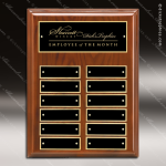 The Memolo Walnut Piano Finish Perpetual Plaque  12 Black Plates Employee of the Month Year Quarter Plaques