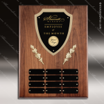 The Mercarda Walnut Perpetual Plaque  12 Black Plates Employee of the Month Year Quarter Plaques