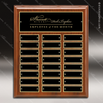 The Memolo Walnut Piano Finish Perpetual Plaque  24 Black Plates Employee of the Month Year Quarter Plaques