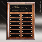 The Melzeo Walnut Piano Finish Perpetual Plaque  12 Black Plates Employee of the Month Year Quarter Plaques