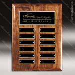 The Memmott Walnut Piano Finish Perpetual Plaque  12 Black Plates Employee of the Month Year Quarter Plaques