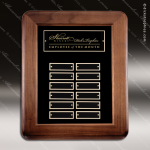 The McEllen Walnut Framed Perpetual Plaque  12 Black Plates Employee of the Month Year Quarter Plaques
