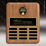 The Tefollla Walnut Perpetual Plaque  12 Black Plates Medallion Employee of the Month Year Quarter Plaques