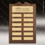 The Trenholm Walnut Arched Perpetual Plaque  12 Gold Plates Employee of the Month Year Quarter Plaques