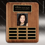 The Tefollla Walnut Perpetual Plaque  12 Black Plates Photo Employee of the Month Year Quarter Plaques