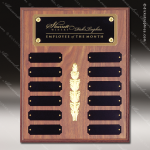 The Morvillo Laminate Walnut Perpetual Plaque  12 Black Plates Employee of the Month Year Quarter Plaques
