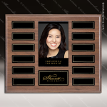 The Monroe Laminate Walnut Perpetual Plaque  12 Black Plates Photo Employee of the Month Year Quarter Plaques