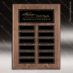 The Monroe Laminate Walnut Perpetual Plaque  12 Black Plates Employee of the Month Year Quarter Plaques