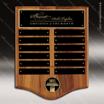 The Trombetta Walnut Arch Perpetual Plaque  12 Black Plates Employee of the Month Year Quarter Plaques