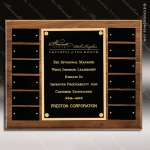 The Trovato Walnut Perpetual Plaque  12 Black Plates Employee of the Month Year Quarter Plaques