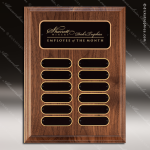 The Troncoso Walnut Perpetual Plaque  12 Black Elliptical Plates Employee of the Month Year Quarter Plaques