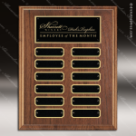 The Trudale Walnut Perpetual Plaque  12 Black Plates Employee of the Month Year Quarter Plaques