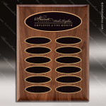 The Trosper Walnut Perpetual Plaque  12 Black Elliptical Plates Employee of the Month Year Quarter Plaques