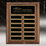 The Troyan Walnut Perpetual Plaque  12 Black Plates Employee of the Month Year Quarter Plaques