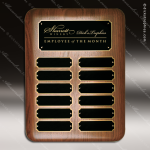 The Jessup Walnut Perpetual Plaque Round Corner  12 Black Plates Employee of the Month Year Quarter Plaques