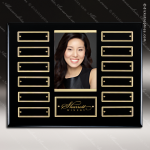 The Maberry Black Piano Finish Perpetual Plaque  12 Black Plates Photo Employee of the Month Year Quarter Plaques