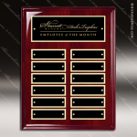 The Marceno Rosewood Perpetual Plaque  12 Black Plates Employee of the Month Year Quarter Plaques