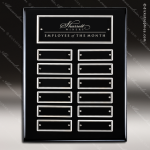 The Mabery Black Piano Finish Perpetual Plaque  12 Black Silver Plates Employee of the Month Year Quarter Plaques