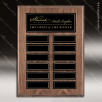 The Jordan Walnut Veneer Perpetual Plaque  12 Black Magnet Plates Employee of the Month Year Quarter Plaques
