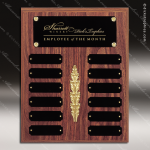 The Morvay Laminate Walnut Perpetual Plaque  12 Black Plates Employee of the Month Year Quarter Plaques