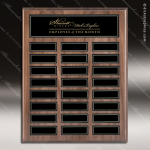 The Monroe Laminate Walnut Perpetual Plaque  24 Black Plates Employee of the Month Year Quarter Plaques