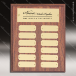 The Morvilla Laminate Walnut Perpetual Plaque  12 Gold Plates Employee of the Month Year Quarter Plaques