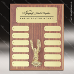 The Morvilla Laminate Walnut Perpetual Plaque  12 Gold Plates Eagle Employee of the Month Year Quarter Plaques