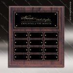The Mujalli Laminate Cherry Perpetual Plaque  12 Black Border Plates Employee of the Month Year Quarter Plaques