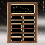The Mozelak Laminate Walnut Perpetual  12 Plaque Black Plates Employee of the Month Year Quarter Plaques