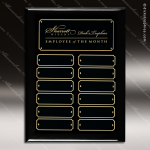 The Jacques Black Piano Finish Perpetual Plaque  12 Black Plates Employee of the Month Year Quarter Plaques