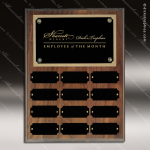 The Jessen Walnut Perpetual Plaque Step Edge  12 Black Plates Employee of the Month Year Quarter Plaques