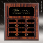 The Jahnsen Laminated Cherry Perpetual Plaque  12 Black Border Plates Employee of the Month Year Quarter Plaques