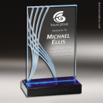 Acrylic Blue Accented Rectangle Wave Award Employee Trophy Awards