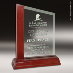 Glass  Rosewood Accented Peak Trophy Award Employee Trophy Awards
