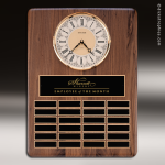 The Tefollla Walnut Perpetual Plaque  24 Black Plates Brass Clock Employee Trophy Awards