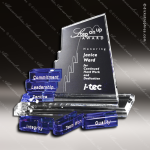 Crystal Blue Accented San Marcos Goal-Setter Trophy Award Employee Trophy Awards