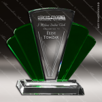 Crystal Green Accented Phantasia Trophy Award Employee Trophy Awards