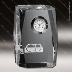 Crystal Clock Silver Accented Dunbar Optical Engravable Clock Award Employee Trophy Awards