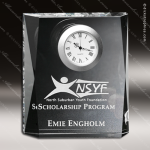 Crystal Clock Silver Accented Moments Beveled Engravable Clock Award Employee Trophy Awards