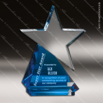 Crystal Blue Accented Azure Star Trophy Award Employee Trophy Awards