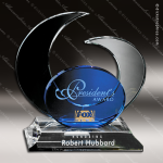 Crystal Blue Accented Elliptic Trophy Award Employee Trophy Awards