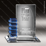 Crystal Blue Accented Resolute Trophy Award Employee Trophy Awards