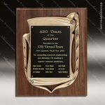 Engraved Walnut Plaque Antique Bronze Openwork Frame Award Employee Trophy Awards