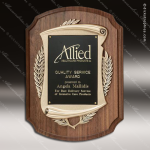 Engraved Walnut Plaque Antique Bronze Laurel Wreath Award Employee Trophy Awards