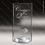 Glass Silver Accented Mobius Trophy Award Employee Trophy Awards