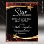 Engraved Acrylic Plaque Red Marble Shooting Star Award Employee Trophy Awards