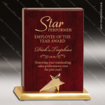 Rosewood Piano Finish Standing Star Recognition Plaque Employee Trophy Awards