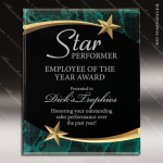Engraved Acrylic Plaque Green Marble Shooting Star Award Employee Trophy Awards
